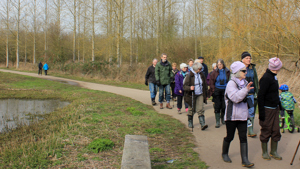 A group walking by the river ouse in Willington