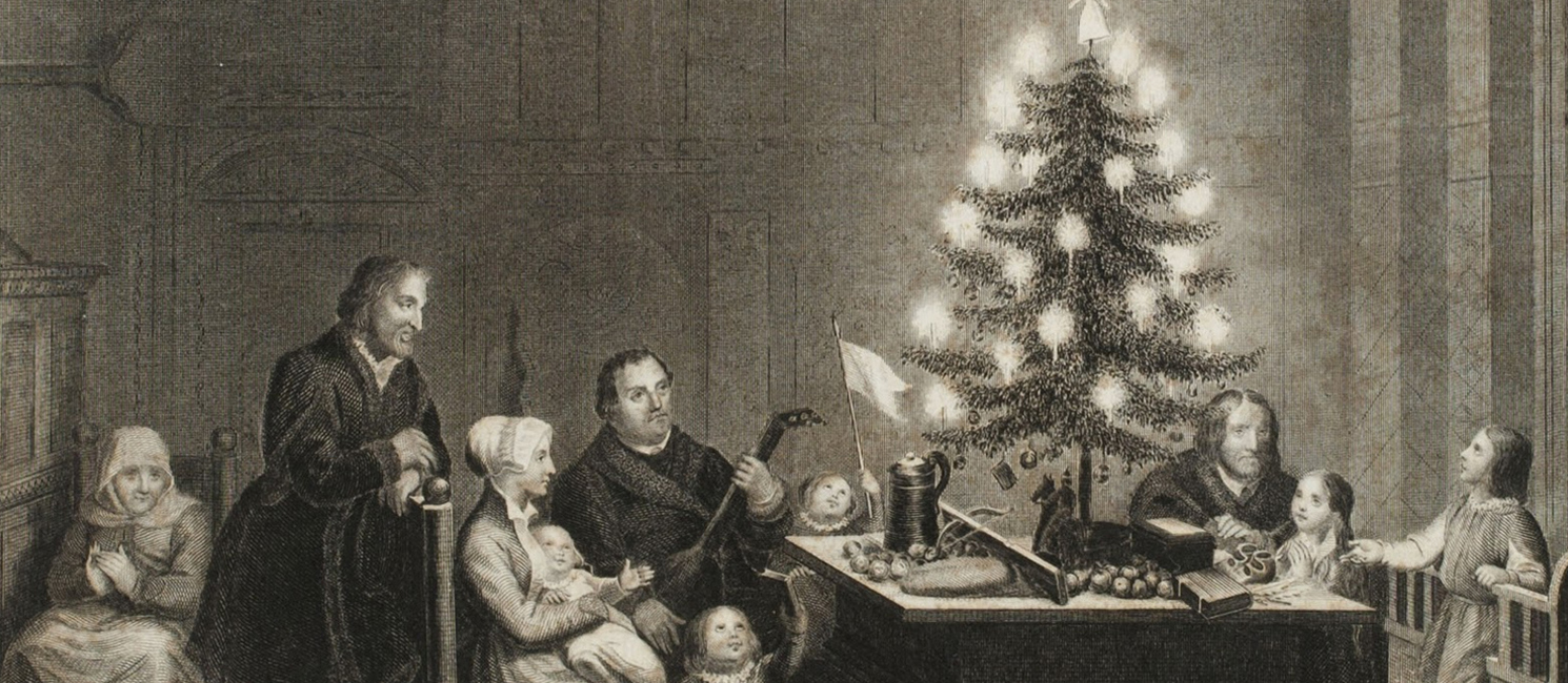 Martin Luther with his Christmas tree illustration